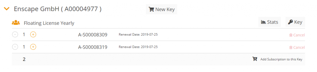 The new subscription is now displayed for your license key