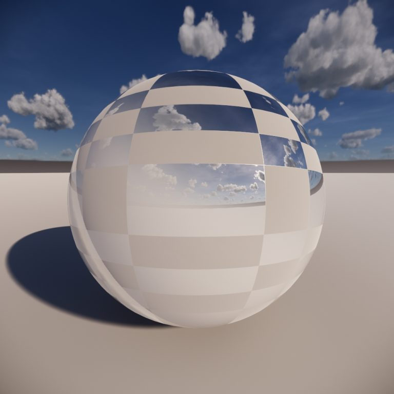 Sphere with checker texture applied as a Roughness Map
