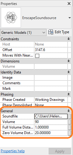 Sound Source details as shown in Revit's Properties panel