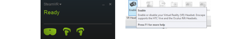 Fig 1.2 SteamVR indicates the headset and controllers are ready, enable VR mode in the Enscape ribbon