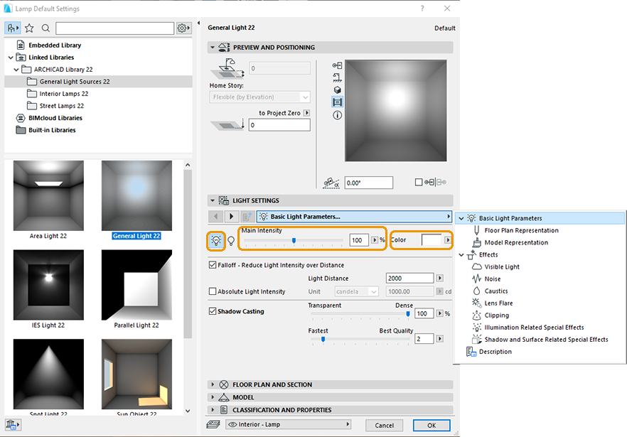 ArchiCAD's Basic Light Parameters
