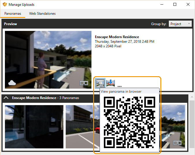 Enscape's View panorama in browser button showing the QR code when hovering over the button
