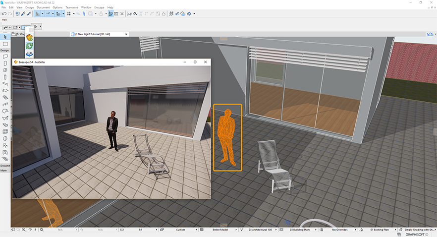 The asset is now placed in the ArchiCAD project.