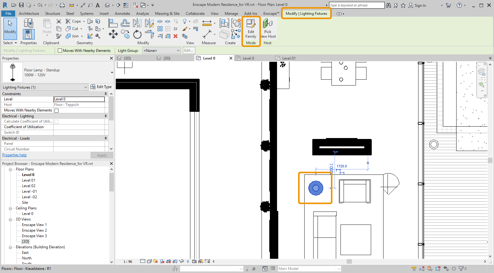 Modify | Lighting Fixtures options in Revit