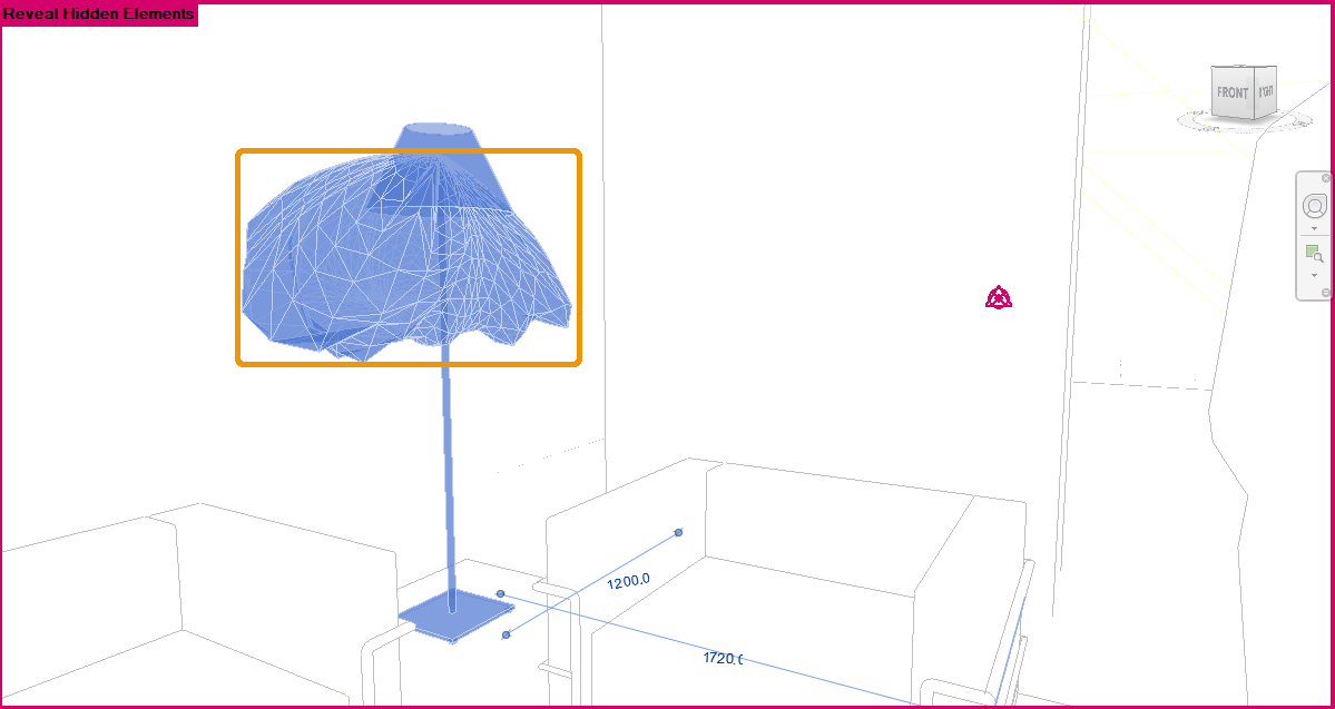 An IES Light's Photometrics Web revealed in the Revit viewport