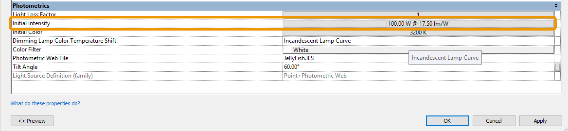 Initial Intensity listing in a lights parameters