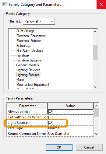Light Source enabled in Revit's Family Category and Parameters window