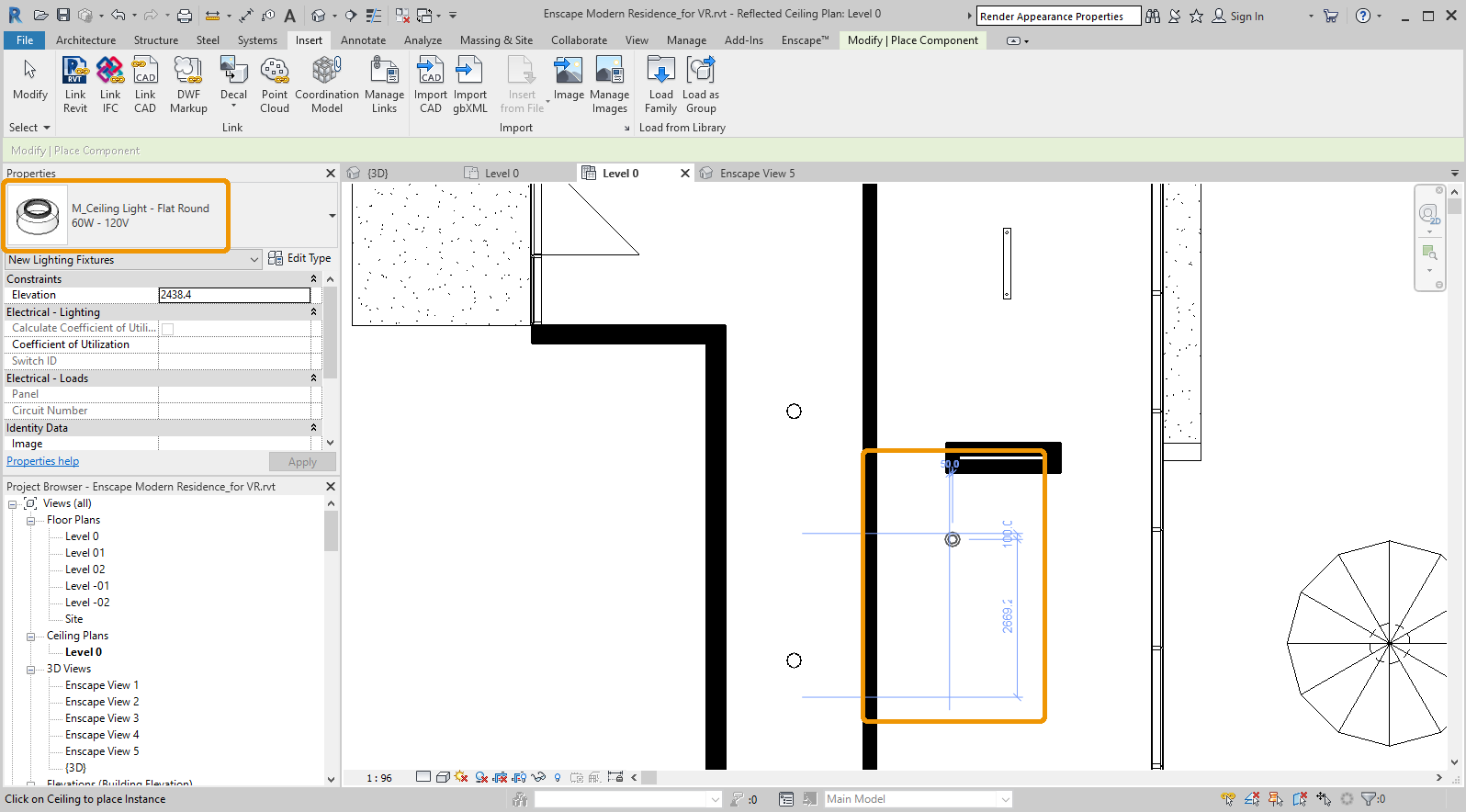 Placing a ceiling light in the Ceiling Plan view in Revit
