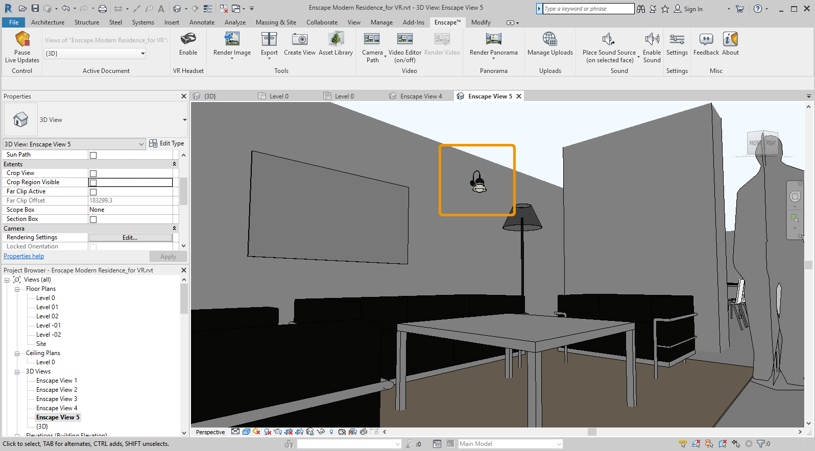 Wall light placed and seen in Revit 3D view