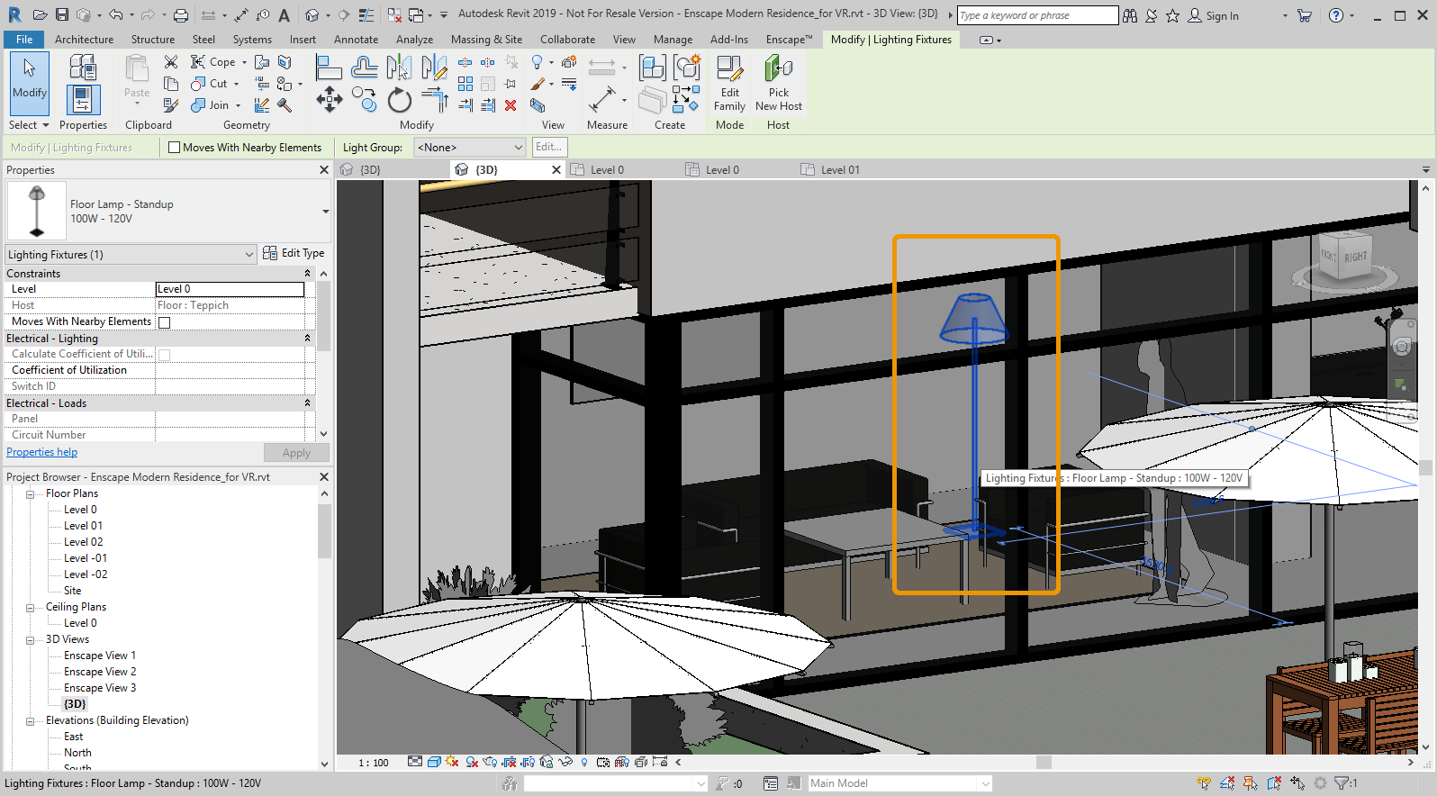 Lighting component now placed and the light as it's displayed in a Revit 3D viewport