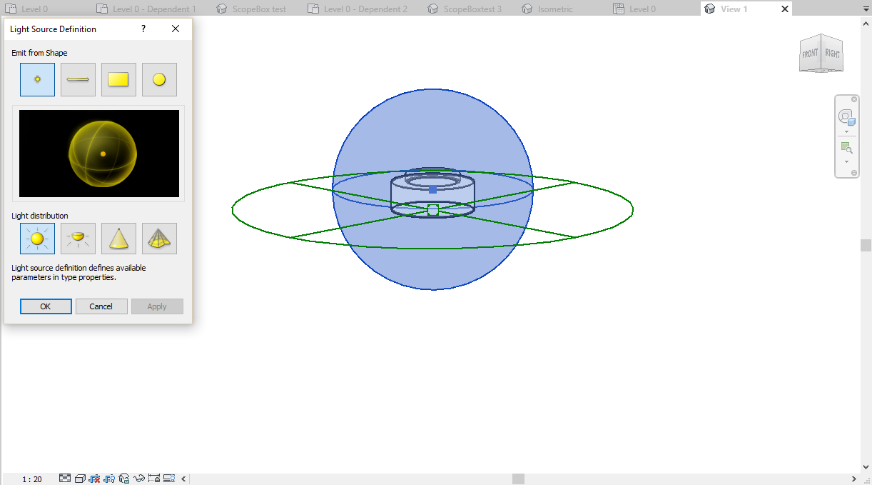 Point Light with Spherical distribution in the Revit editor