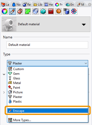 Set the Material Type to 'Enscape' in the native Rhino Material Editor