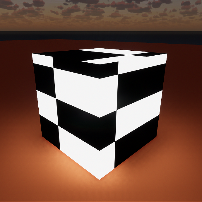 Self-illumination set to texture on a cube