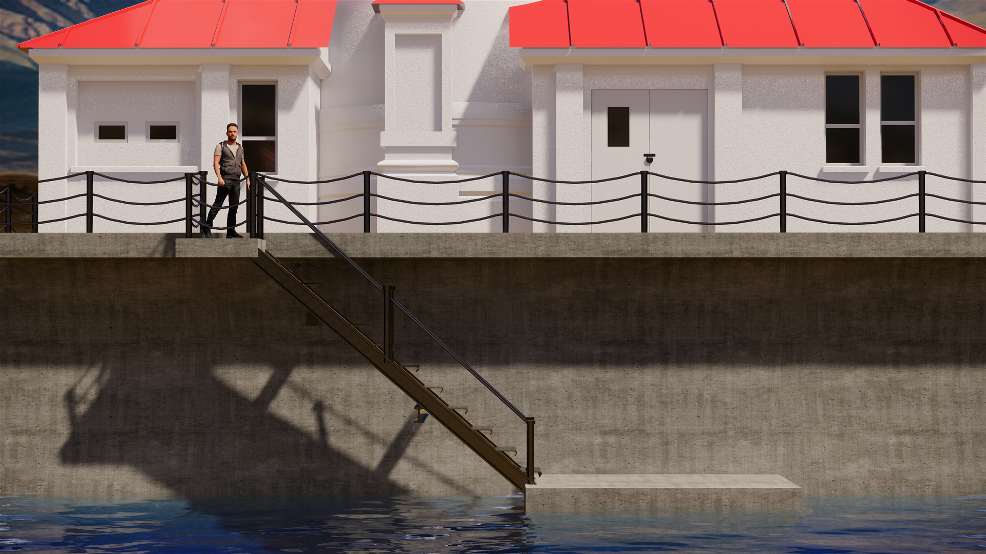 Enscape Render Lighthouse Man Standing At Stair