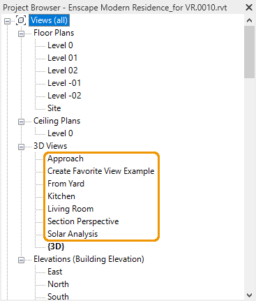 Revit's Project Browser also lists the created views