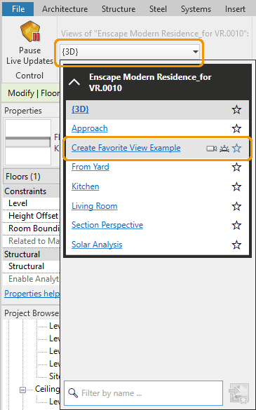 Created view listed in Manage Views menu in Revit