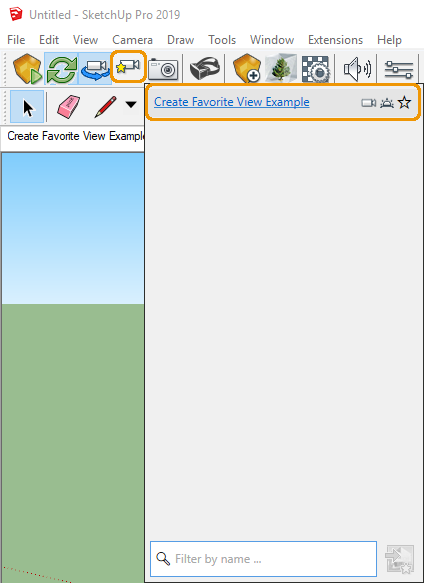 Created view listed in Manage Views menu in SketchUp