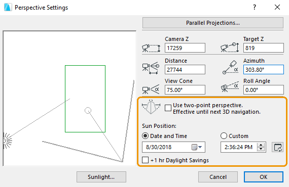 Perspective Settings widnow in ArchiCAD