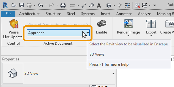 Selecting the view from the 3D View Selector in Revit