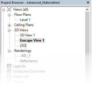 The newly created view in Revit's Project Browser