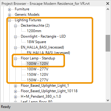 Light component loaded into project, this is available in the Revit Project Browser