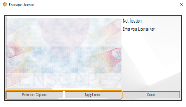 Enter Enscape License Key window