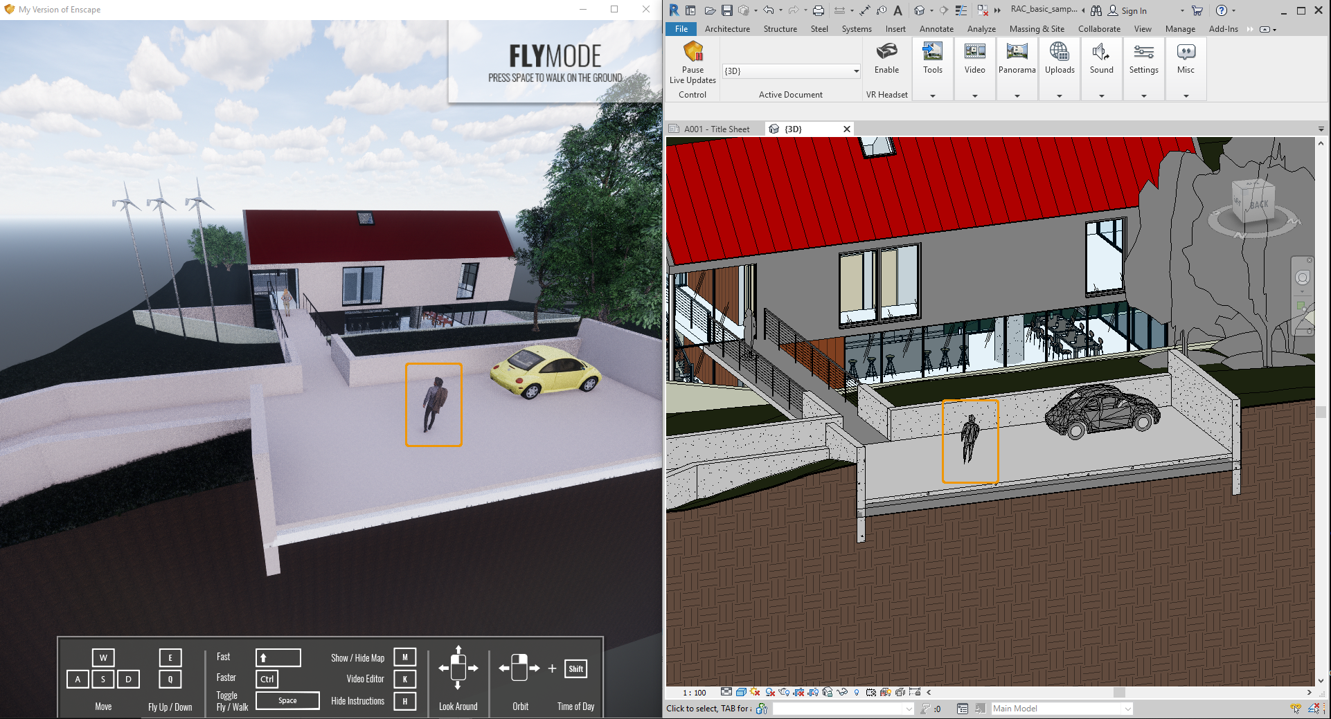 Asset placed on surface and show in Enscape