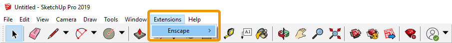 Location of the Enscape menu in SketchUp