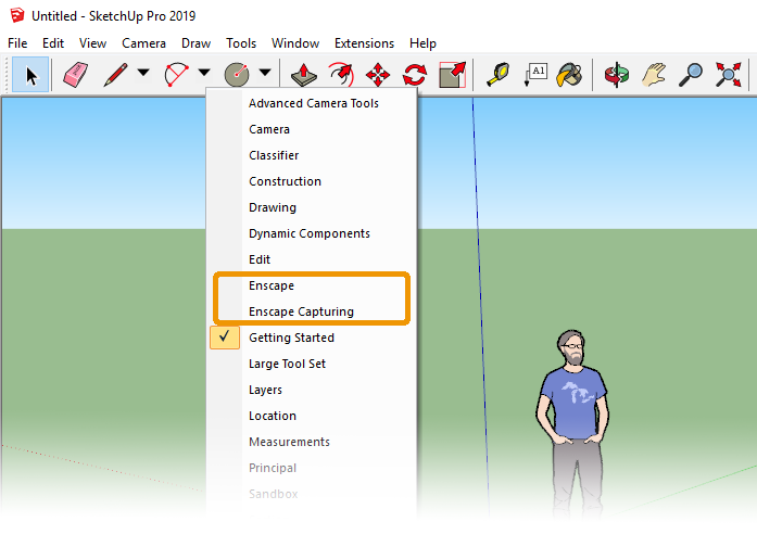 Enable the Enscape toolbars by right-clicking in the SketchUp toolbar area