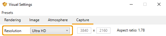 Resolution settings within the Capture tab