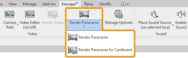 Enscape's Render Panorama buttons in Revit