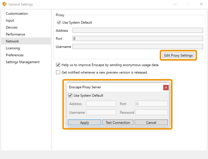 Enscape About window and the Configure Proxy button