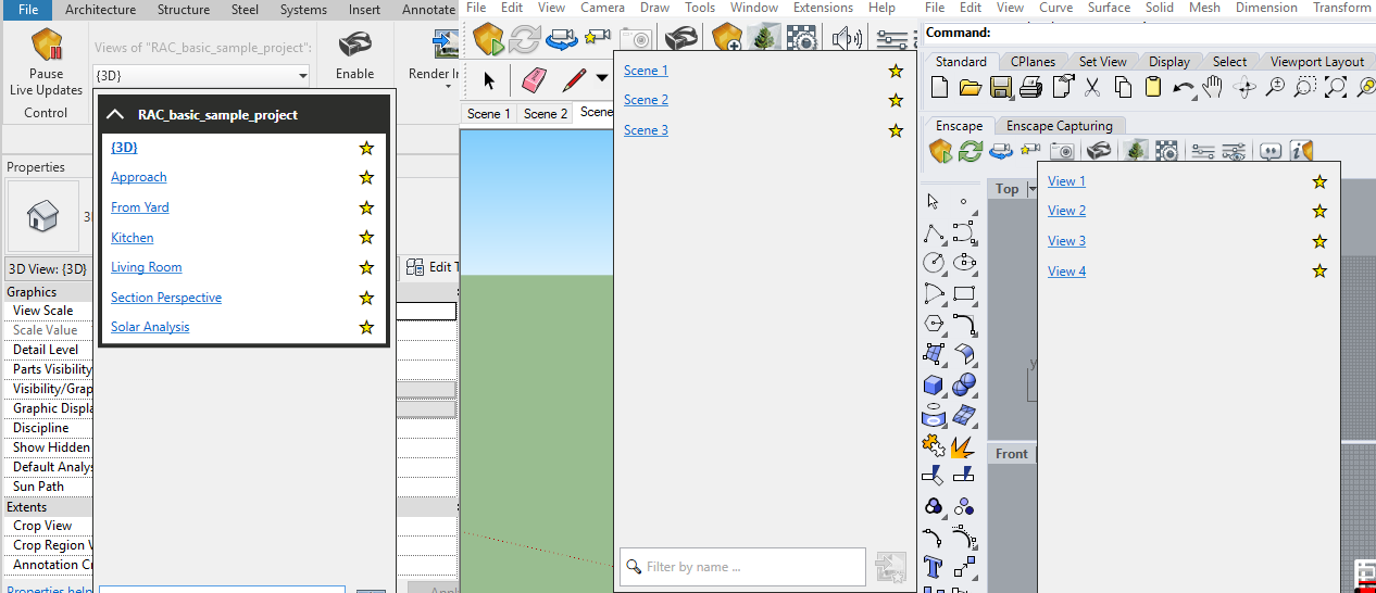 Fig 1.14 'Mark as Favorite' Views in Revit, Sketchup, and Rhino.