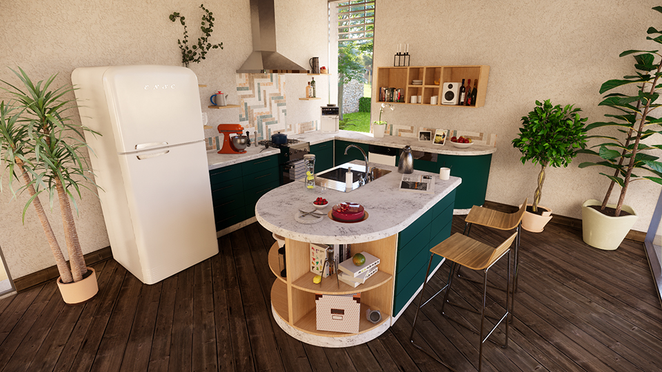 A modern kitchen built in ArchiCAD