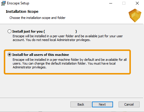 Install Enscape for all user of the machine