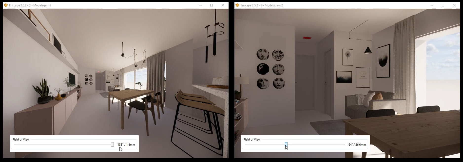 Misconfiguration of the field of view can distort your final rendering.