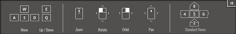 Orthographic Projection Mode Help Overlay Menu