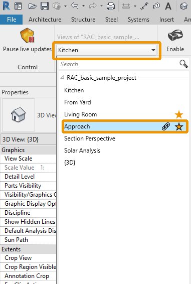 Mark a View as a Favorite View in Active Documents in Revit