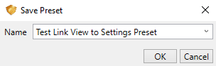 Name the Settings Preset