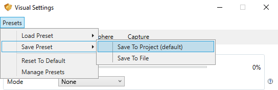Save Settings Preset to Project