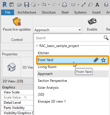Selecting a 3D View in Revit