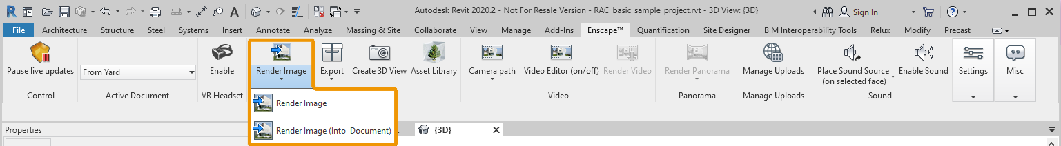 The Enscape Render Image buttons in Revit