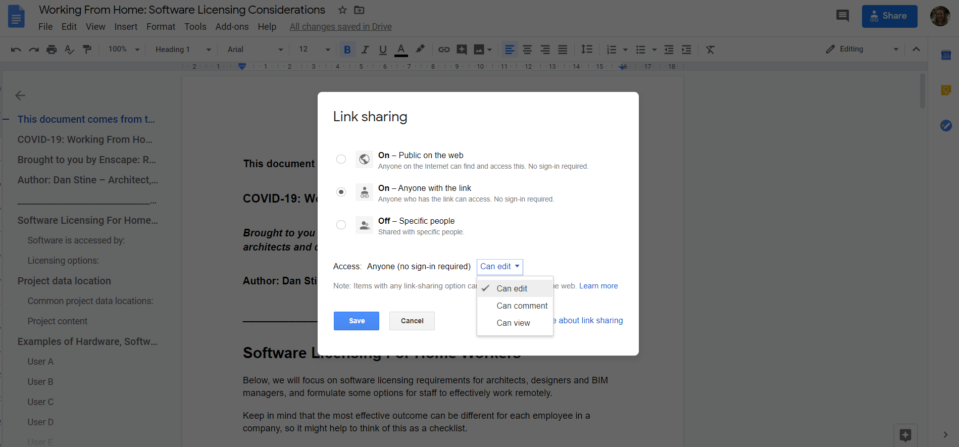Google Docs: How to Enable Editing Rights