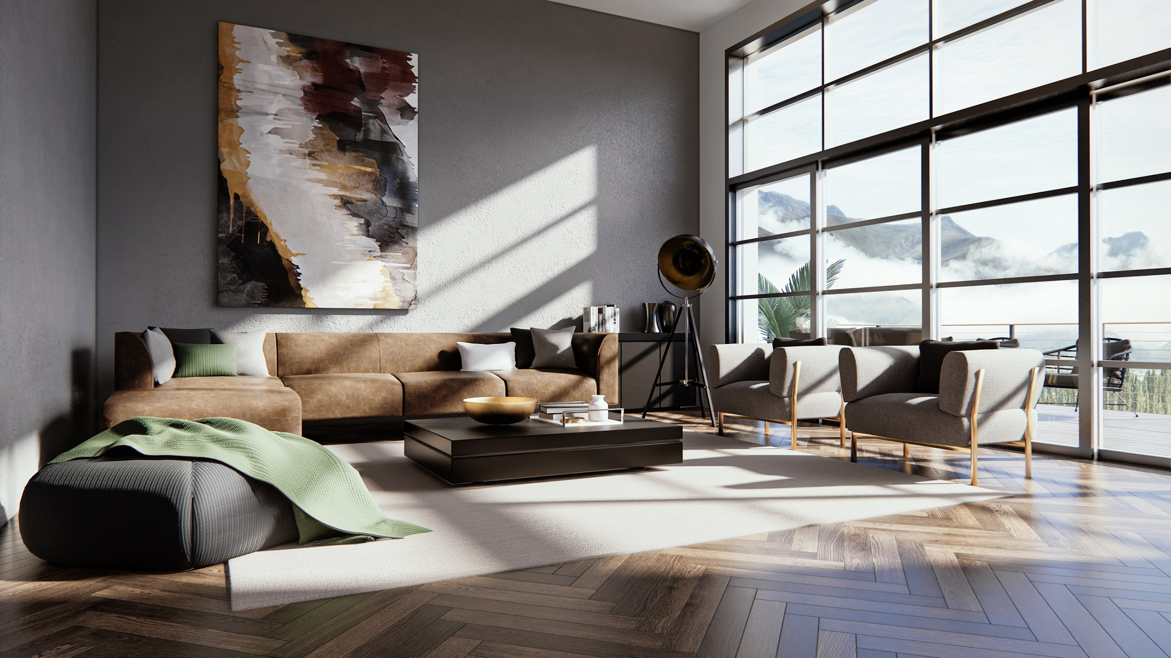 An example of a Vectorworks interior scene rendered with Enscape