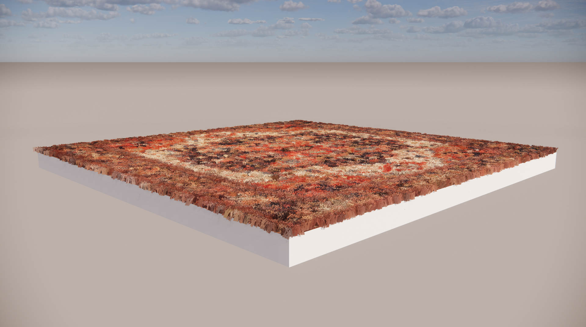 Carpet material applied in SketchUp using an underlying texture file in the Albedo slot.