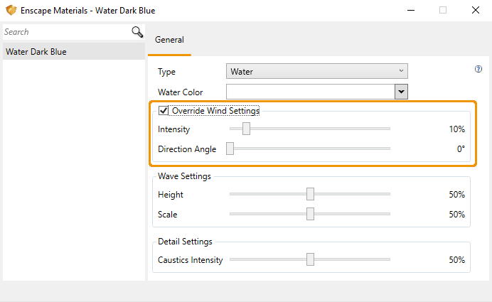 Override Wind Settings option