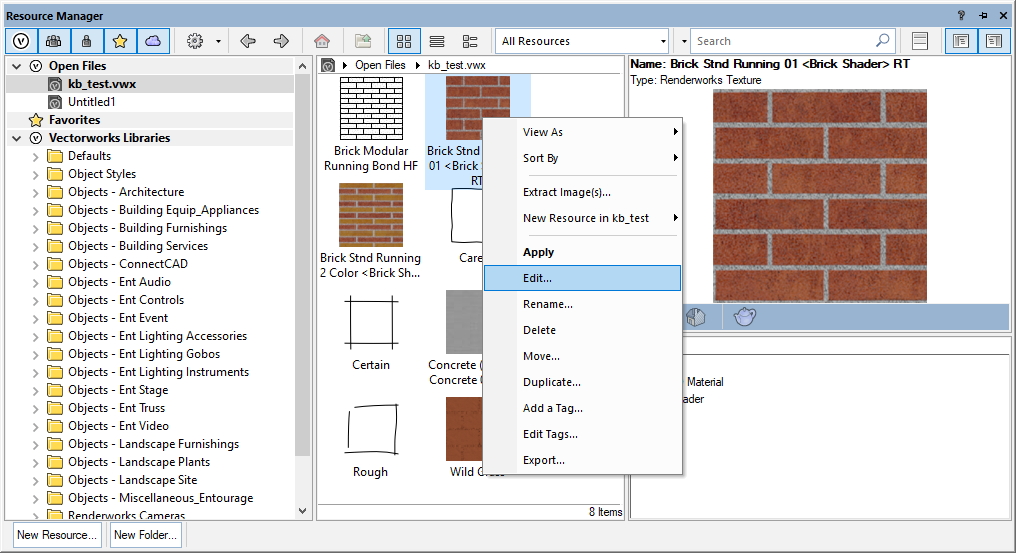 Vectorworks Resource Manager dialog