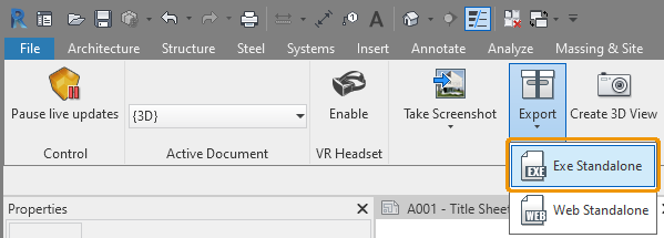 Standalone Export Button in Revit