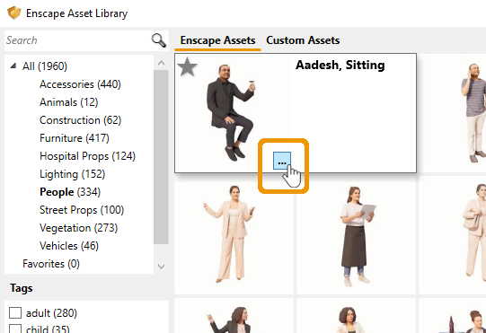 Location of the asset placement button in the Asset Library for Revit
