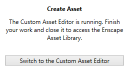 Custom Asset Editor is open